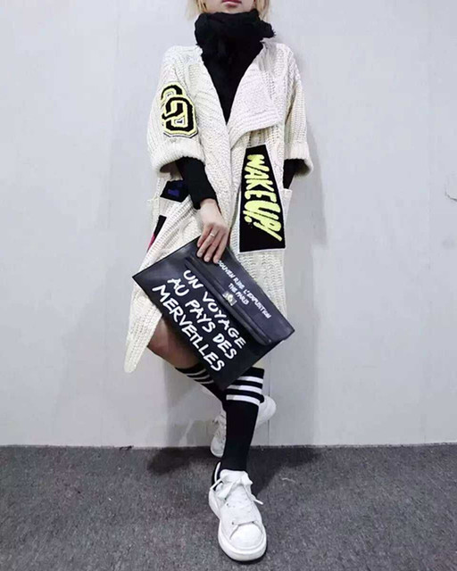 Manteau de pull tricoté épais femme, lindividualité Appliques Long Cardigans mode manteau de pull tricoté épais pour femme châle et Ponchos