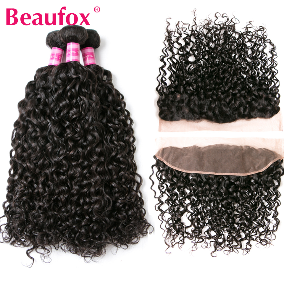 Beaufox Peruvian Water Wave 3 Bundles With Frontal Closure Human Hair Weave Lace Frontal Closure With Bundles Remy Hair
