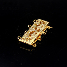 Free shipping Never Change Color! 4- Strand 14K Gold Filled Hollow Flower Rectangle Box Jewelry Clasps 8x24mm