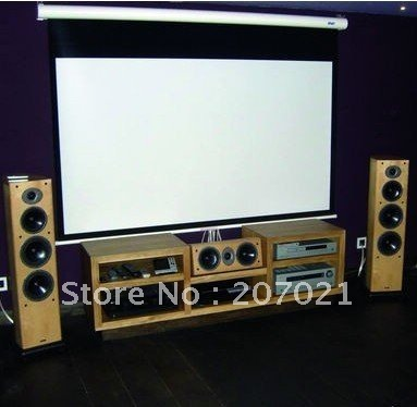 Motorized home theater projection screens