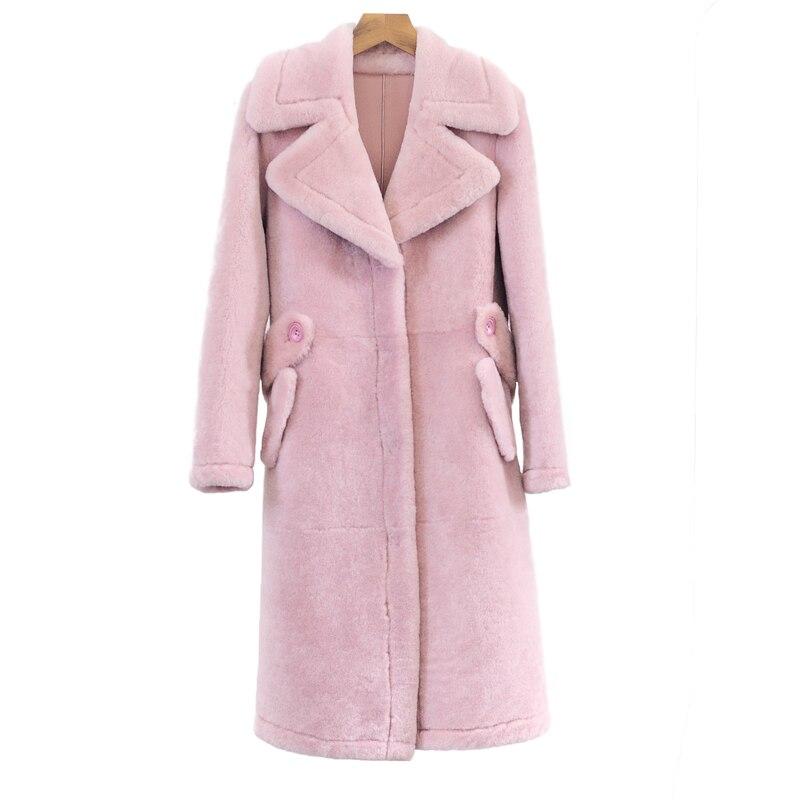 Femmes Veste Pink Fourrure Ivory Npi Une White Chaud Pièce Peau Mousser Cuir Hiver En Mouton caramel Femelle Épais Rose medium De Cisaillement 71105c Manteau zCHgnqawTW