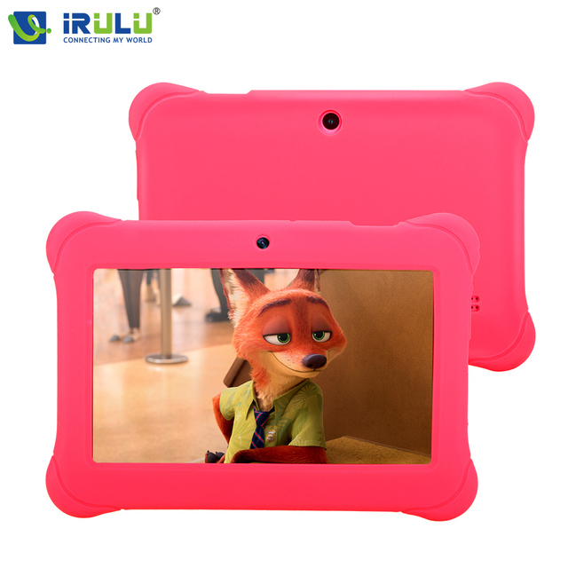 iRULU Y1 BabyPad 7 » Android 4.4 Tablet Quad Core Dual Camera Children Tablet 1GB RAM 8G ROM with Silicone Case Candy Color New