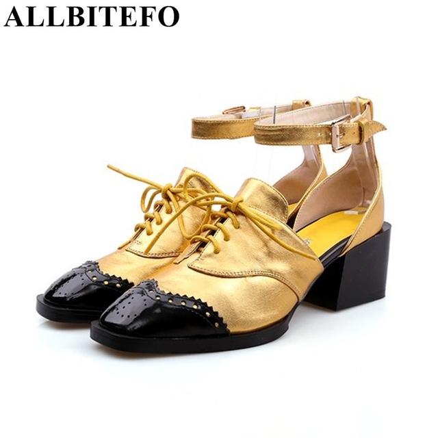 Allbitefo marca de moda ouro vermelho couro genuíno dedo do pé redondo cores misturadas de salto alto mulheres bombas de alta qualidade mulheres sapatas do partido