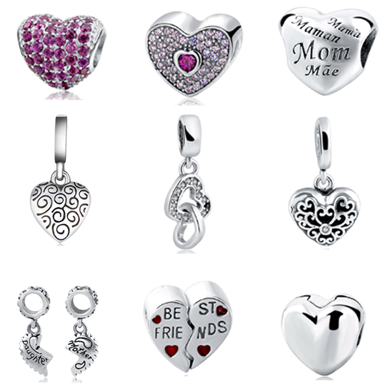 Fit Authentic Pandora Charms Bracelet Silver 925 love Heart shape beads for women jewelry making  DIY mother family gift