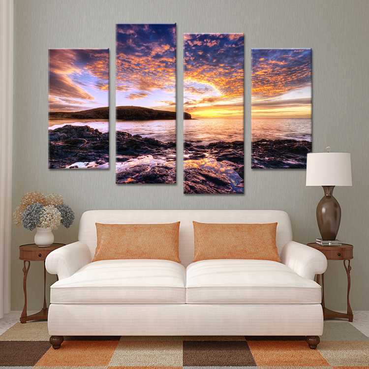 50 Beautiful Wall Painting Ideas And Designs For Living: Unframed 4 Pieces Beautiful Sunset Seascape Wall Painting