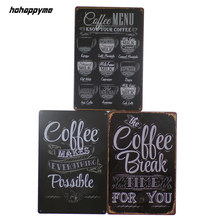 Coffee Sign Decoration Plaque Metal Vintage House Art License Poster Cafe Bar Plates Wall Decor Home 20*30cm