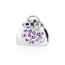 New 100 925 Sterling Silver Bead Charm Pave Cz Bowknot Handbag Beads Charms Fit Pandora