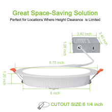 HuaXinV 1 pcs 6 Inch Slim LED Downlight with Junction Box, 12W, 1000 LM, Dimmable, 3000 K Soft Warm White, Recessed Jbox Fixture