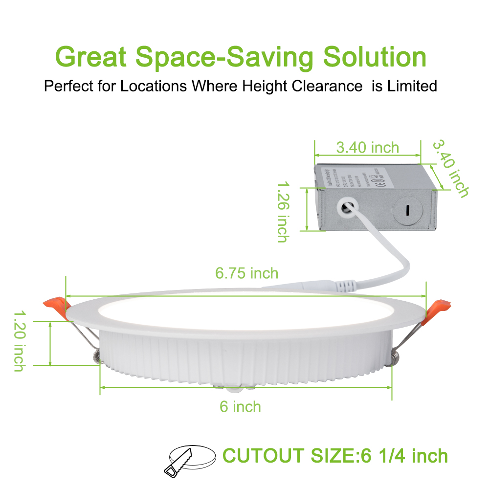 HuaXinV  6 Inch Slim Led Ceiling With Junction Box, 12W, 1000 LM, Dimmable, 3000 K Soft Warm White, Recessed Jbox Fixture