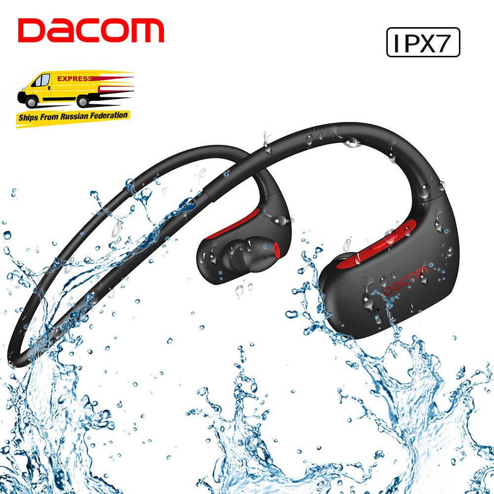 DACOM Sport Bluetooth Kopfhörer Bass IPX7 Wasserdichte Drahtlose Headset Bass Stereo Kopfhörer mit Mikrofon für Samsung iPhone