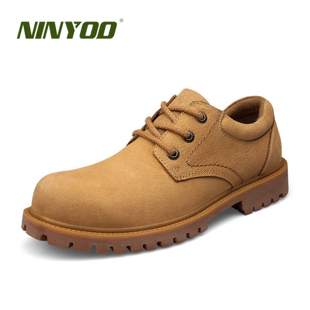 NINYOO Spring Autumn Men Work Shoes Genuine Leather Outdoor Casual Shoes Wearproof Martens Shoes Big Size 47 48 Father's Shoes
