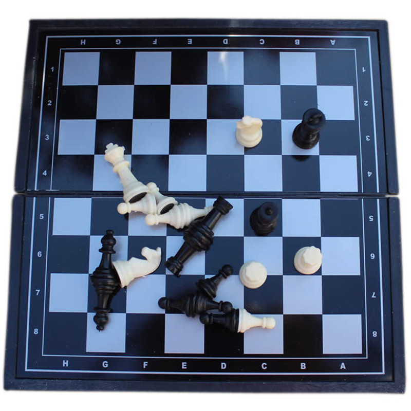 1Set Intellectual Chess Board Kid Gift Folding Chessboard Box Puzzle Decoration Craft with Magnetic Chess Board T35