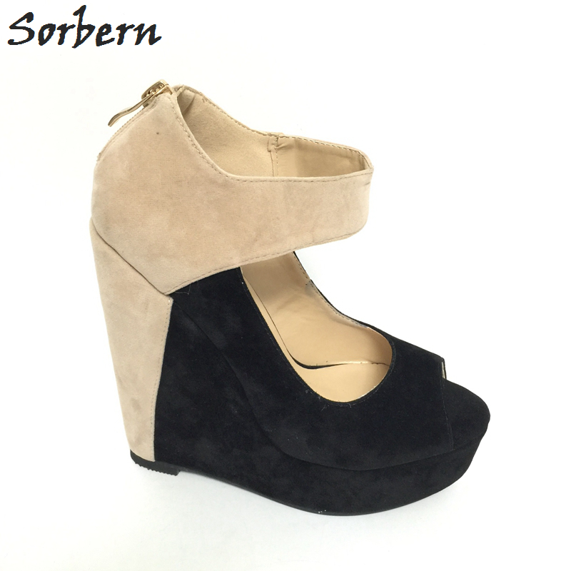 Pompe Chaussures Sorbern Beige Beige custom Plate Noir 12 Talons forme Wedge Grande Femmes Peep Color Pompes Talon Toe Taille Compensé xvXXrnT