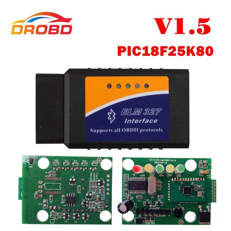 Mais novo ferragem elm327 v1.5 pic18f25k80 chip elm327 v 1.5 bluetooth para android obd2 scanner diagnóstico-ferramenta elm 327 OBD-II