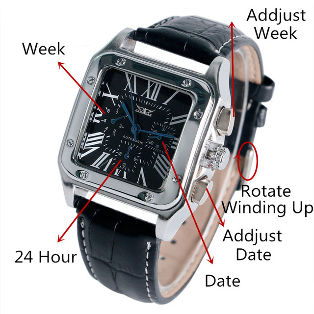JARAGAR Mechanical Watches Men Fashion Genuine Leather Wrist Watch Automatic Date Day Display Watches Mens Clock with Gift Box