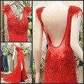 Lace Sheer 2016 Na venda Elegante Sereia Backless da luva do Tampão contas Sem Encosto de Noite Vermelho vestido Formal Longo Mulheres Red Prom vestidos