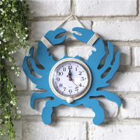 Mediterranean Style Old Wooden Crab Clock Handmade Home Decor Wall Mural Pendant Watch Bell Home Decoration Accessories Crafts
