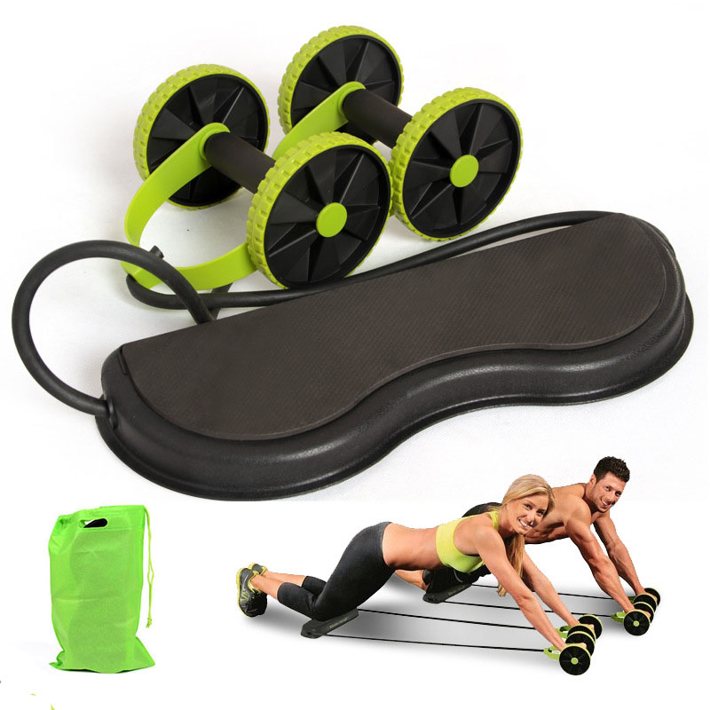 AB Wheels Abdominal Wheels Roller Trainer Stretch Elastic Abdominal Resistance Pull Rope Tool Multifunctional Exercise Fitness image
