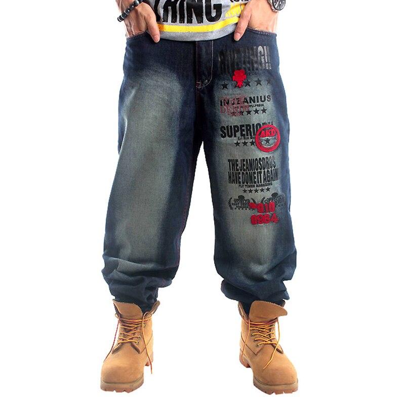 ФОТО Original Quality Denim Jean Men Plus Size Hip-Hop Loose Baggy Design Blue Wash Embroidery HipHop baggy jeans Hip Hop Rap Pants