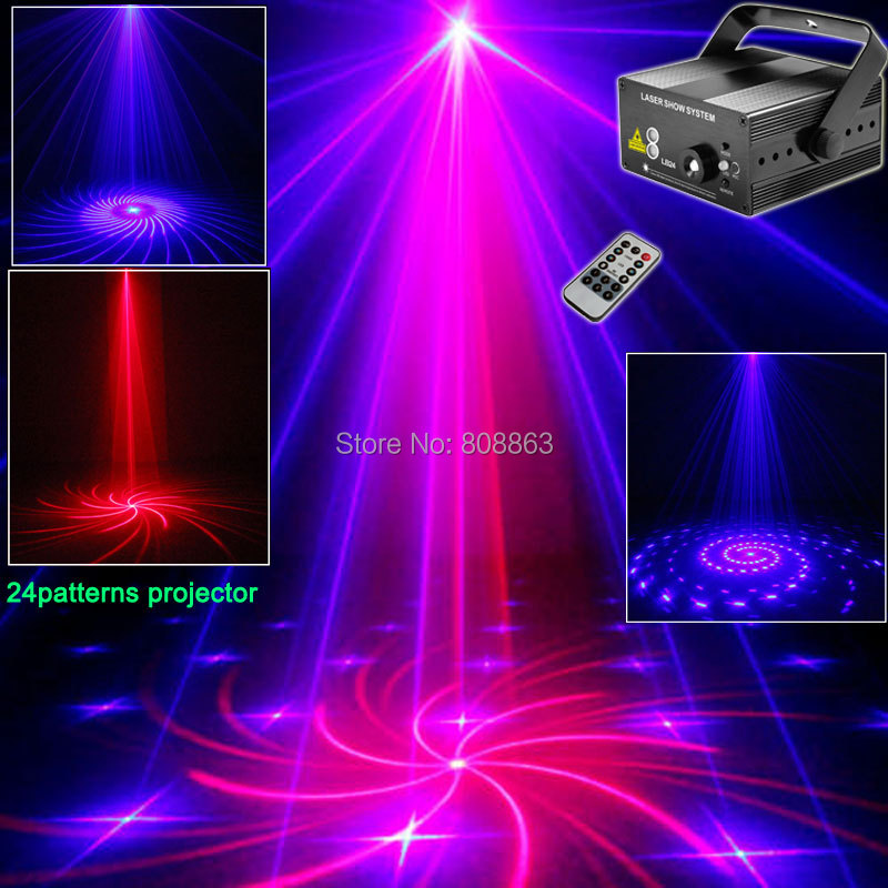 MINI 3 Lens R&B Laser 24 patterns Laser Projector BLUE LED Club Party Bar DJ Dance Disco Xmas KTV Home Party Stage Light LB24