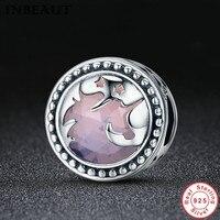INBEAUT Hot Sale Authentic 925 Sterling Silver Único Transparente Pedra de Vidro Grânulos de Charme fit Pandora Pulseira