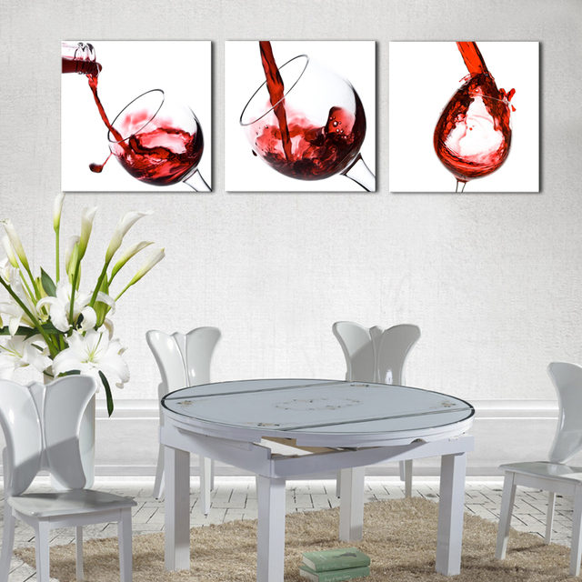 3 Pieces Art Painting Red Wine Glass Prints On Canvas Decorative Painting  Wall Art For Modern