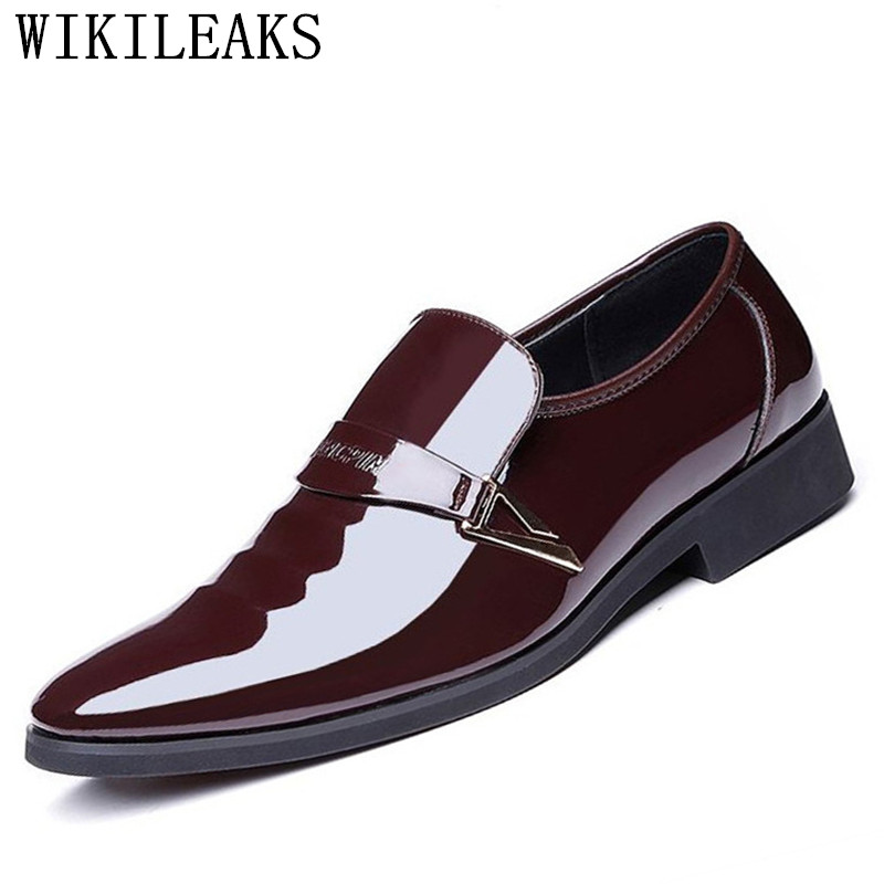 цены 2018 designer men shoes luxury brand slip on oxford shoes for men pointed toe dress shoes patent leather wedding shoes man italy
