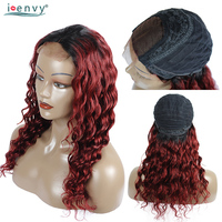 Ienvy Red Ombre Human Hair Wig Loose Deep Wave Lace Front Wigs Brazilian 1B 99J Curly Lace Front Wig Human Hair Burgundy Nonremy