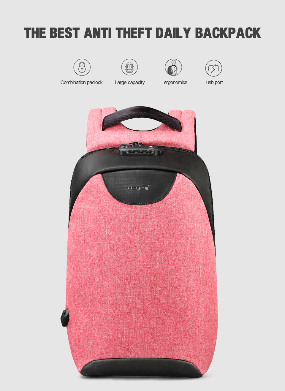 HTB1JT6QEKSSBuNjy0Flq6zBpVXa9 Tigernu Women Anti Theft TSA Lock female Laptop Backpack USB Charge School Bag for Teenager girls Feminine Backpacks Bagpack