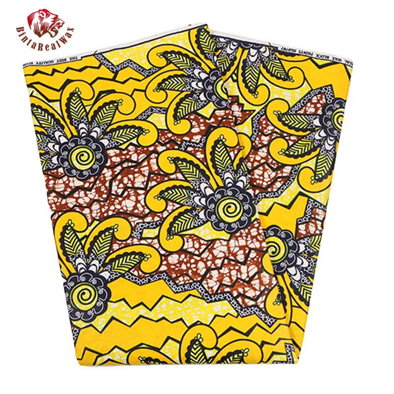 2017 Последние Ярко-Желтый Цветочный Узор Batick Bazin Riche Африканские Ткани Африканские Отпечатки Воска Ткани новый Воск Hollandais PL230