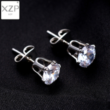 XZP 1 Pair Silver Round Stud Earrings For Women CZ AAA Zircon Ear Piercing Studs Surgical Steel Jewelry 5mm Mini Girl Gift