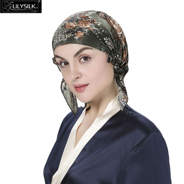 Lilysilk Skullies & Beanies Silk Sleep Caps Turban Hats for Women Gorros Shabby Flowers Elegant Blackish Green Hair Care