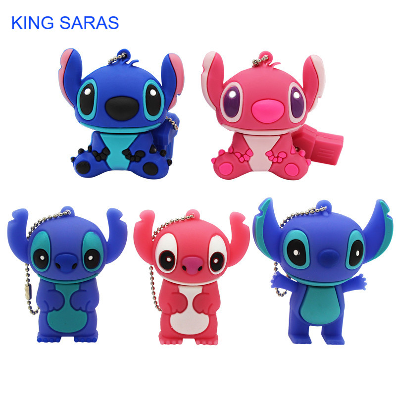 KING SARAS Cartoon Blue Pink Model Stitch Usb Flash Drive Usb 2.0 4GB 8GB 16GB 32GB 64GB Pendrive Cute Mini Stitch Pen Drive