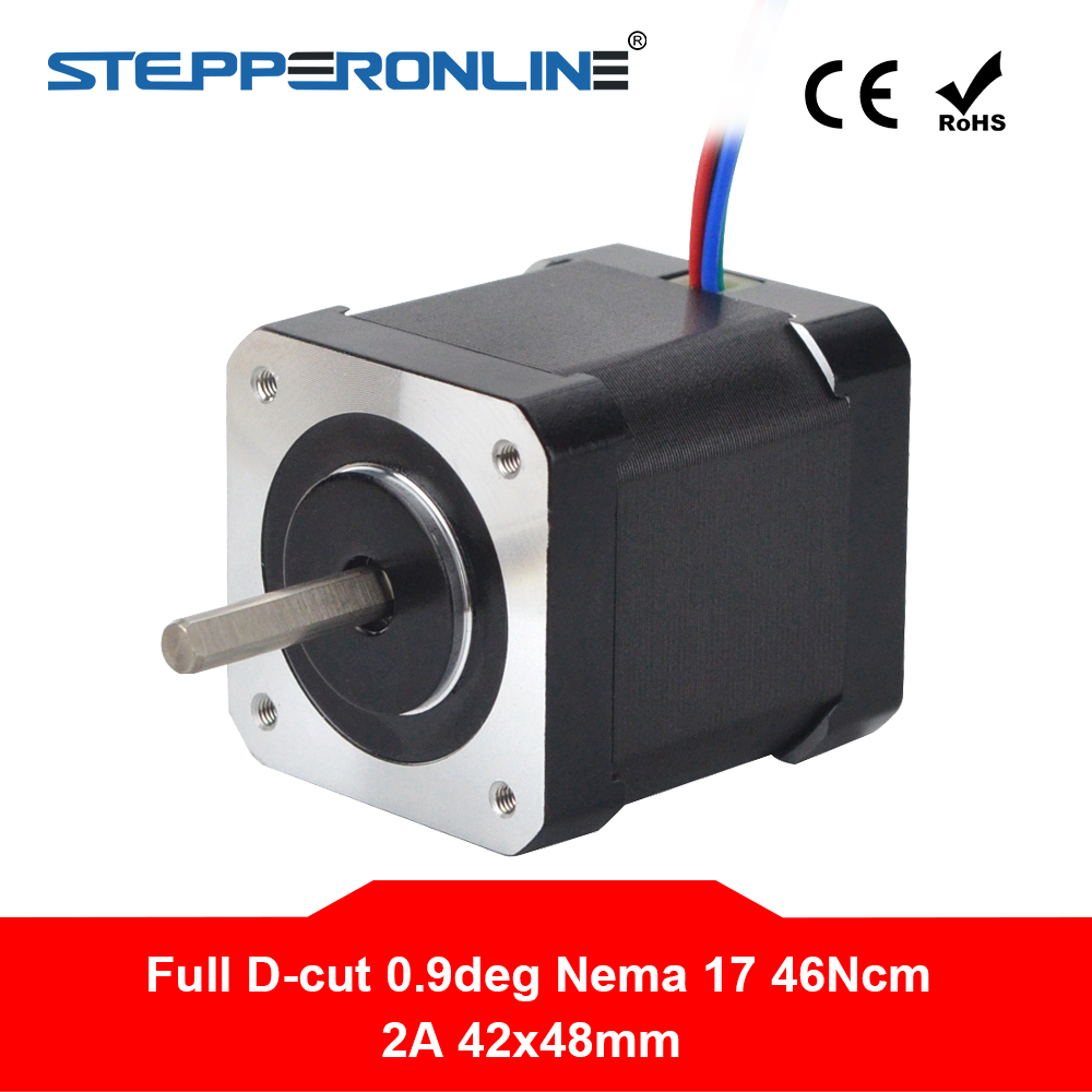 0.9deg Nema 17 Stepper Motor 2A 42x48mm 46Ncm Full D-cut Shaft 4-lead Nema17 Stepper For DIY 3D Printer CNC Robot