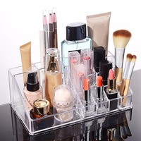 Cosmetic Organizer One Layer 16 Compartment Makeup Organizer Acrylic Storage Box Makeup Storage Case Jewelry Box