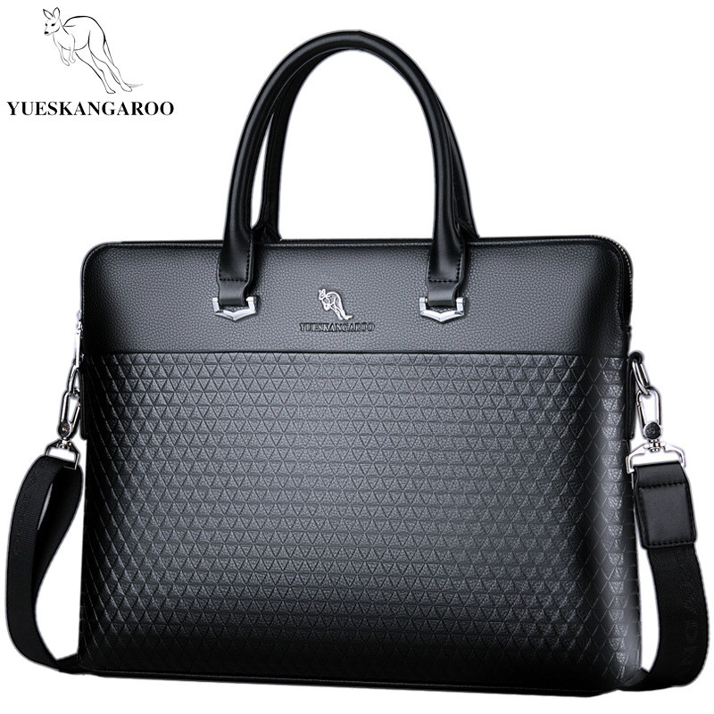 YUESKANGAROO Famous Brand Leather Men Bags Business Briefcase 2018 New Handbag Male Crossbody Shoulder Bags new men business bags men soft briefcase bags man bags for office 2017 male handbag cross body shoulder leather handbag black