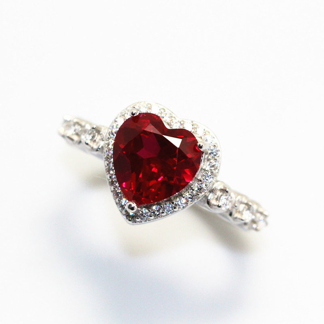 Red Ruby Heart Shape Gemstone Sterling 925 Silver Wedding Rings For Women Bridal Fine Jewelry Engagement Bague Accessories 4