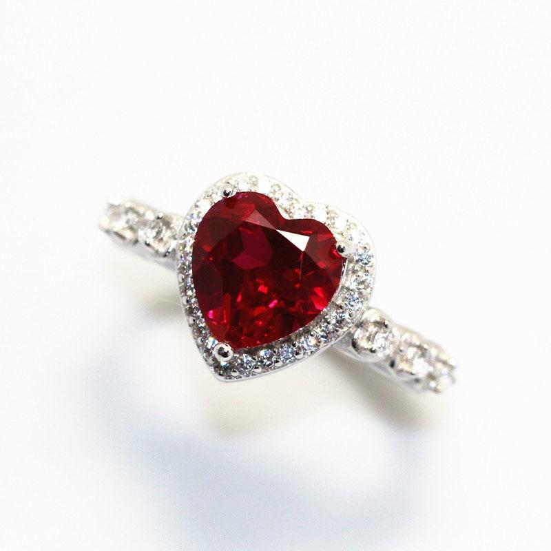 Red Ruby Heart Shape Gemstone Sterling 925 Silver Wedding