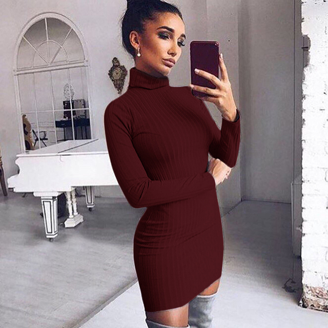 Dress Woemn 2017 Sexy Bodycon Dress Casual Turtleneck Long Sleeve Knitted Sweater Dress Slim Women Dresses Vestidos WS4277E