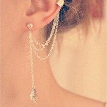цена на New Punk Leaf Tassels Crystal Stud Earrings Long Dangle Ear Clip Charm Earrings For Women Metallic Wrap Ear Cuff Earring WD328