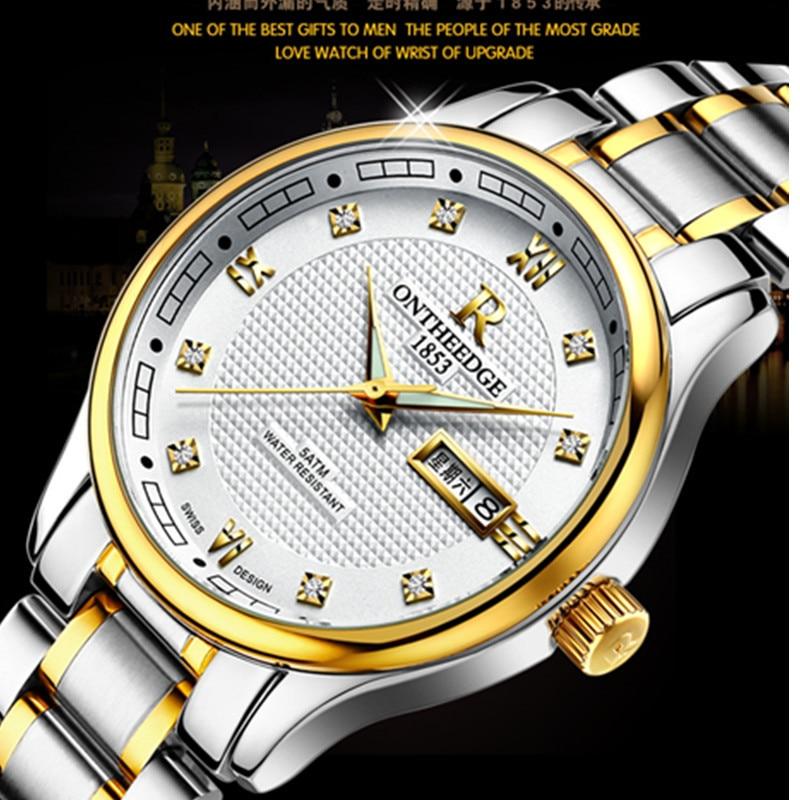 New Luxury Quartz Watch Men Fashion classic Diamond Luminous Watches Double calendar Stainless Steel Wristwatch Men And Women tophill original fashion watch luxury brand diamond quartz wristwatch for women original genuine leather luminous watch ab1855