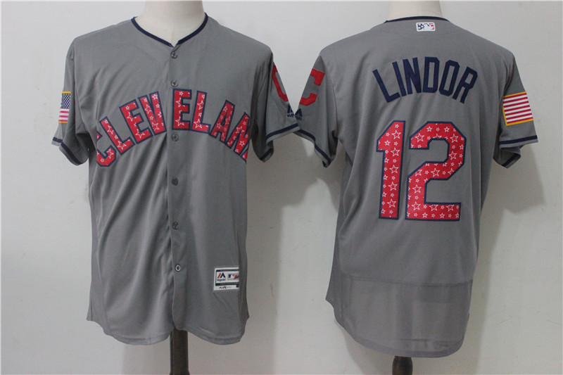 MLB Mens Cleveland Indians 12 # LINDOR Home / Away Gray / White Player Jersey, Baseball Jersey Free Shipping