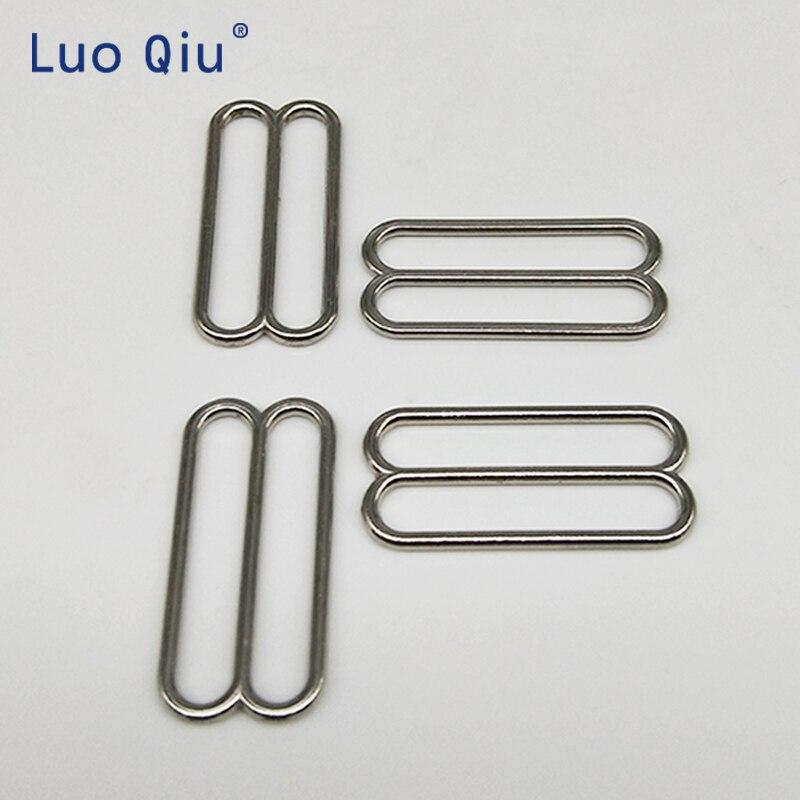 De plata sujetador ajustable hebillas 8 bra ropa interior de hebilla de Metal y plástico sujetador Cierre de nylon recubierto de metal de 25mm Luo Qiu (10 unids/lote)