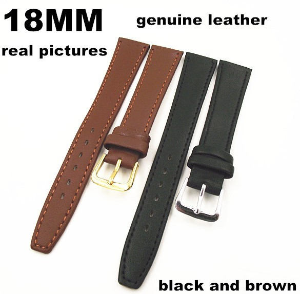New arrived High quality 50PCS lot 18mm genuine leather watch band watch strap watch parts black