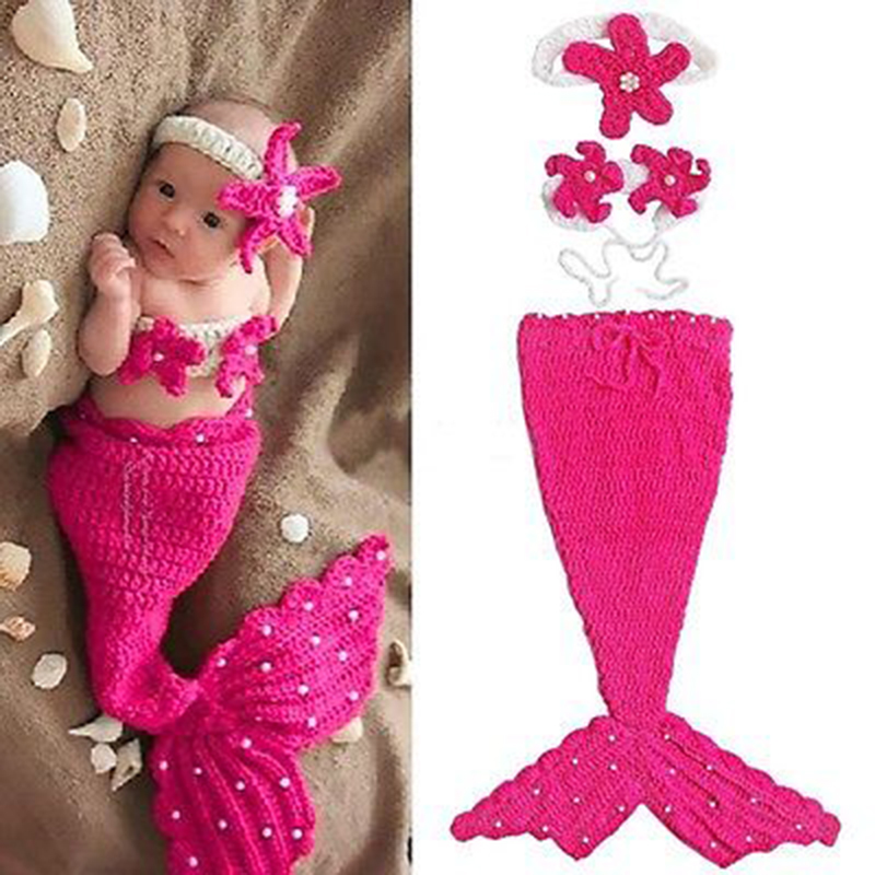2017 Hot baby Photography Props Hand-woven Knit Cocoon Baby Cap Hats Mermaid Newborn Infant Costume baby hat