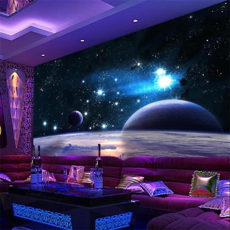 Beibehang Kustom 3D Mimpi Dingin Langit Bintang Tema Alam Semesta Ruang Foto Wallpaper Lukisan Dinding Ruang