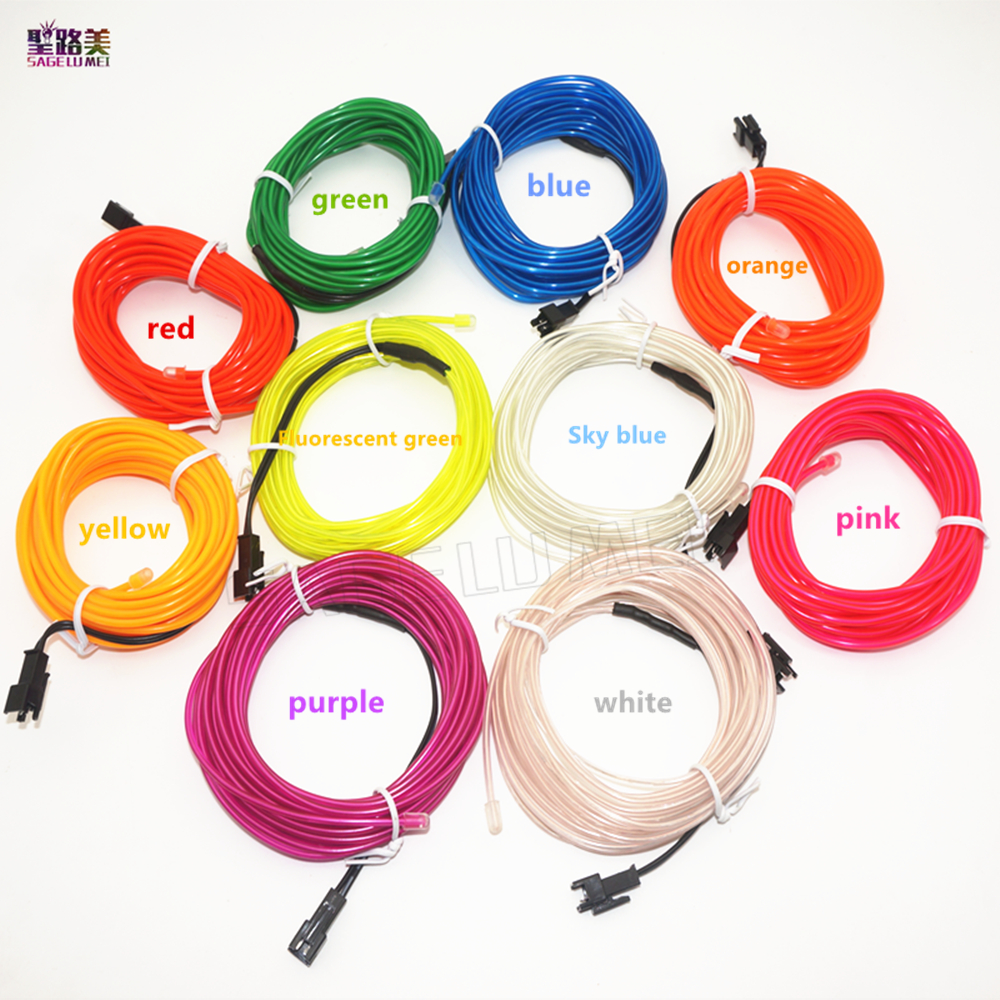 2m / 3m / 5M Fleksibel Neon Light Glow EL Wire Rope tube Kabel Strip LED Neon Lights Sko Klær Bil fest dekorative kontrolleren