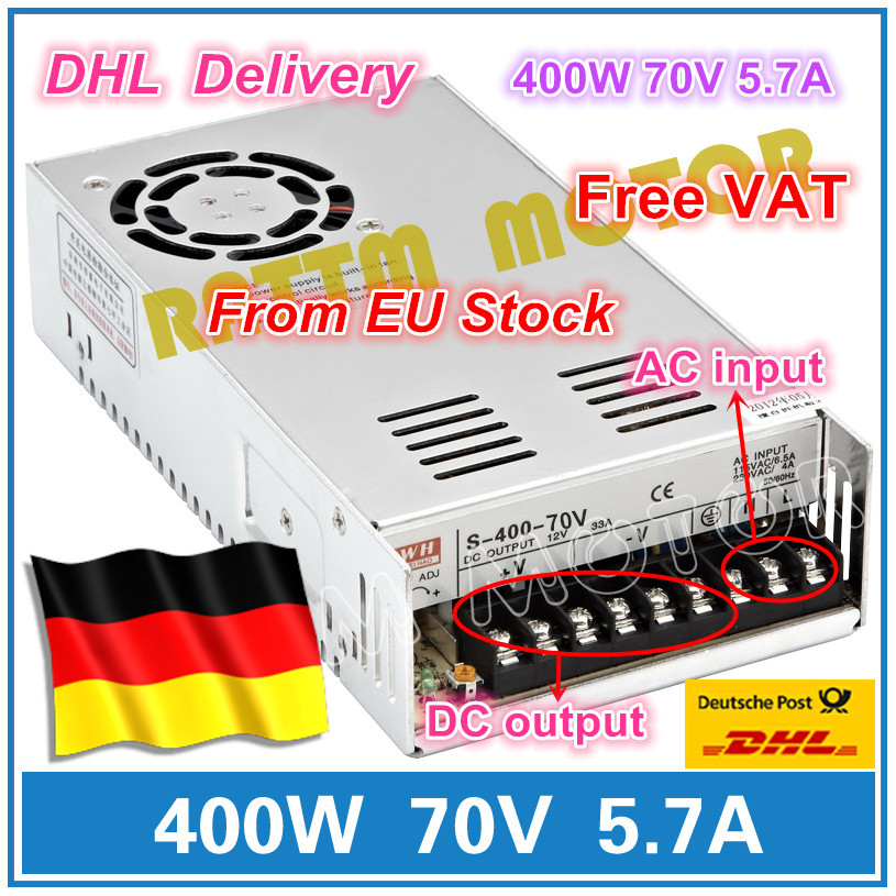 400W 70V Switch DC Power supply S-400-70 5.7A Single Output for CNC Router Foaming Mill Cut Laser Engraver Plasma