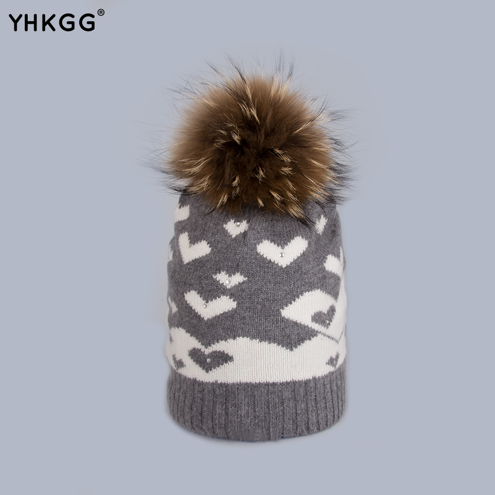 YHKGG Cute Beanie Brand 2016  Female Hearts Warm Winter Hats Wool Knitted Hat with Big Natural Fur Pom Pom Christmas Gift H011 2017 yhkgg the girl s hat warm and comfortable in winter hats the ornament of a flower cute baby hat knitting hat