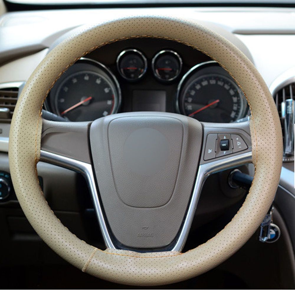 Car Styling Interior Accessories DIY Steering Wheel Covers Extremely Soft Breathable Leather Punching Braid With Needle Thread